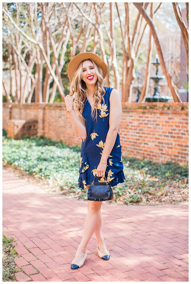 blush and camo, style tips, photography tips, chanel flats, boater hat, spring style, floral dress, blog tips