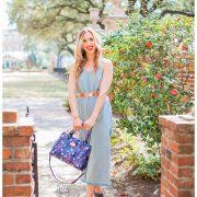 blush and camo, spring trend, romper, style tips, shop maude, romper, booties, draper james handbag