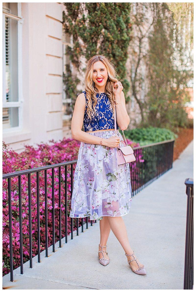 blush and camo, style tips, morning lavender skirt, spring style, valentino shoes, kate spade handbag, spring fashion