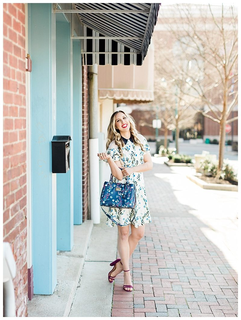 blush and camo, draper james, draper james dress, spring outfit, spring style, floral dress, block heels, draper james handbag, navy dress, blog tips, how to find balance