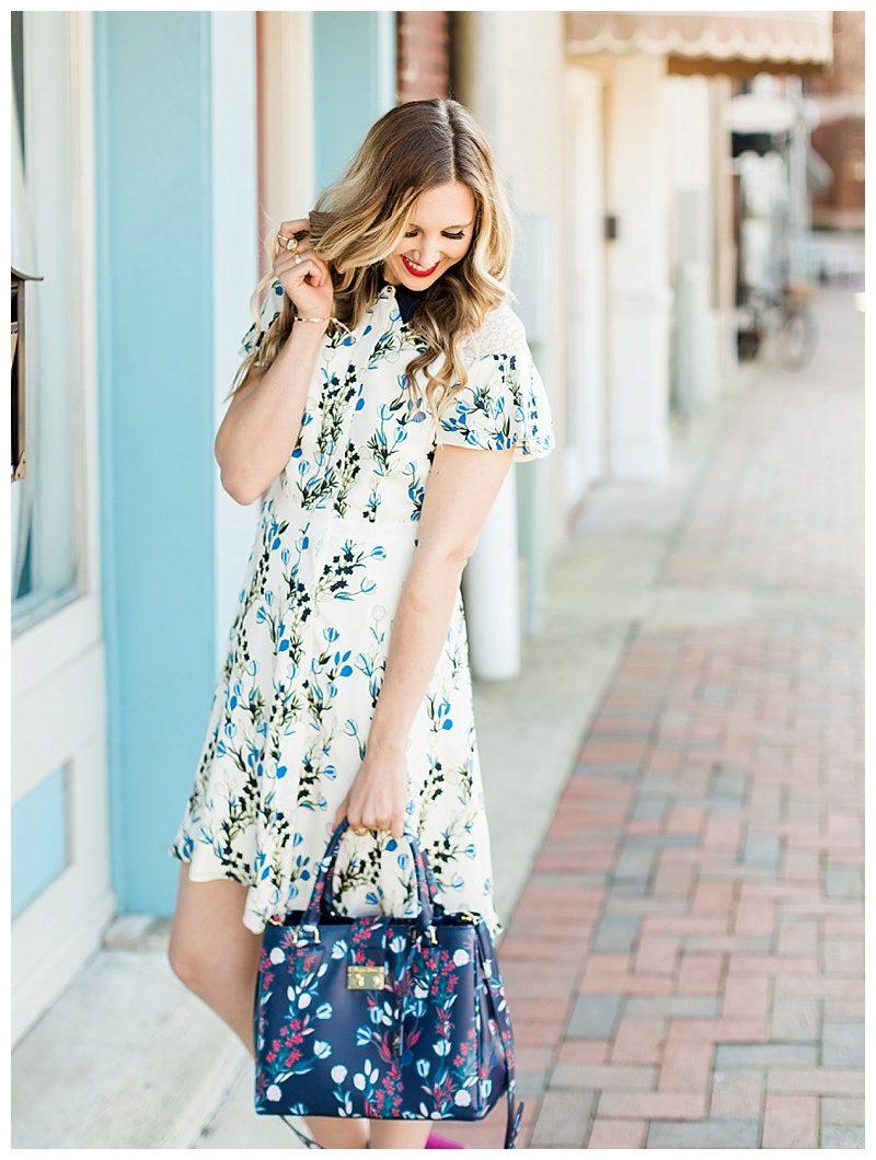 blush and camo, draper james, draper james dress, spring outfit, spring style, floral dress, block heels, draper james handbag, navy dress, blog tips, how to find balance