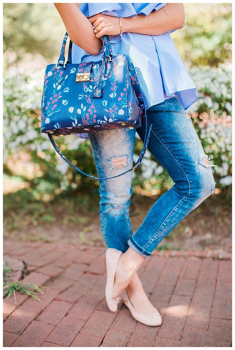 blush and camo, off the shoulder, trends, style tips, draper james handbag, spring fashion