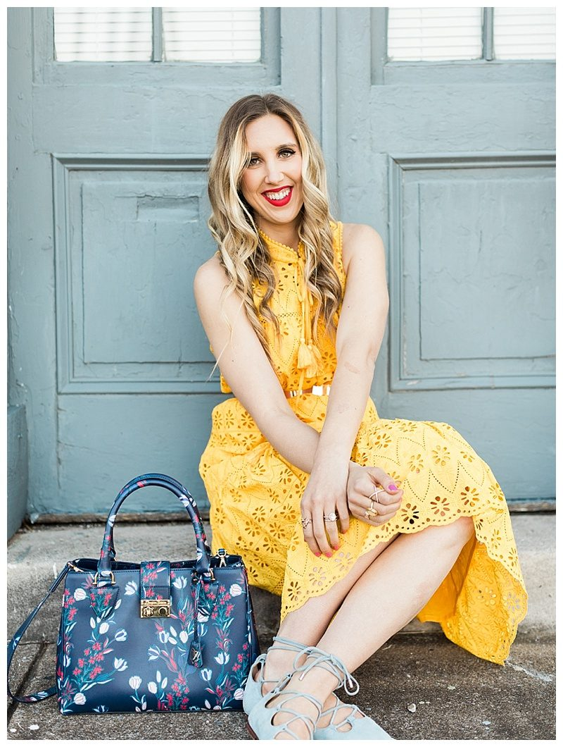 blush and camo, yellow dress, kate spade dress, draper james, draper james handbag, spring style, how to style, style tips