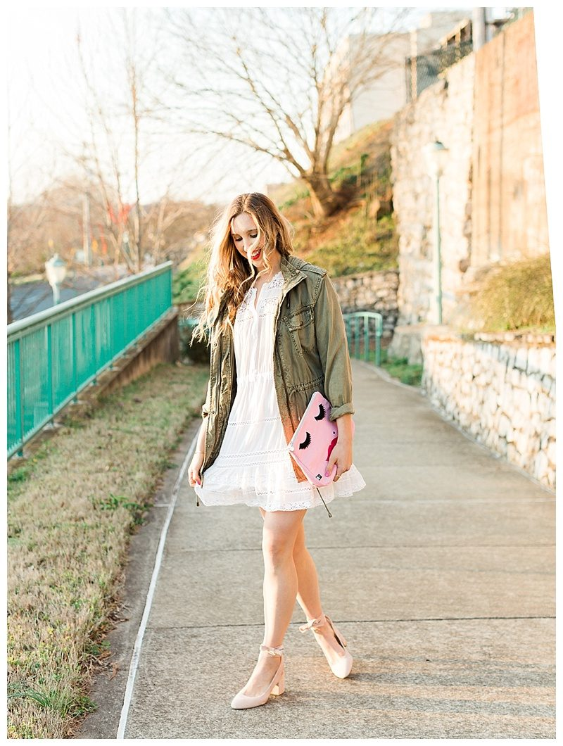 blush and camo, style tips, style tip, fashion blogger, dsw, pink heels, military jacket, spring style, how to style, spring outfit, pink clutch, feminine style, dark blonde hair