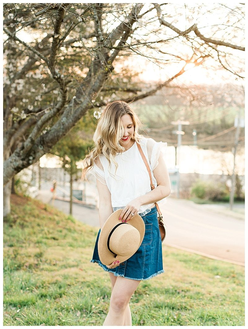 blush and camo, style tips, how to style, wardrobe classics, jean skirt