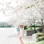 blush and camo, white dress, spring style