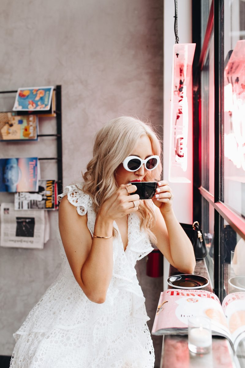 blush and camo, trendy sunglasses, retro sunglasses, white sunglasses, edgy style, feminine summer dress, blogger style, fashion blogger style, red lip, nashville blogger, cafe roze