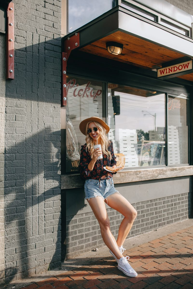 blush and camo, personal style, revolve jean shorts, converse high tops, style tips, arch clutch