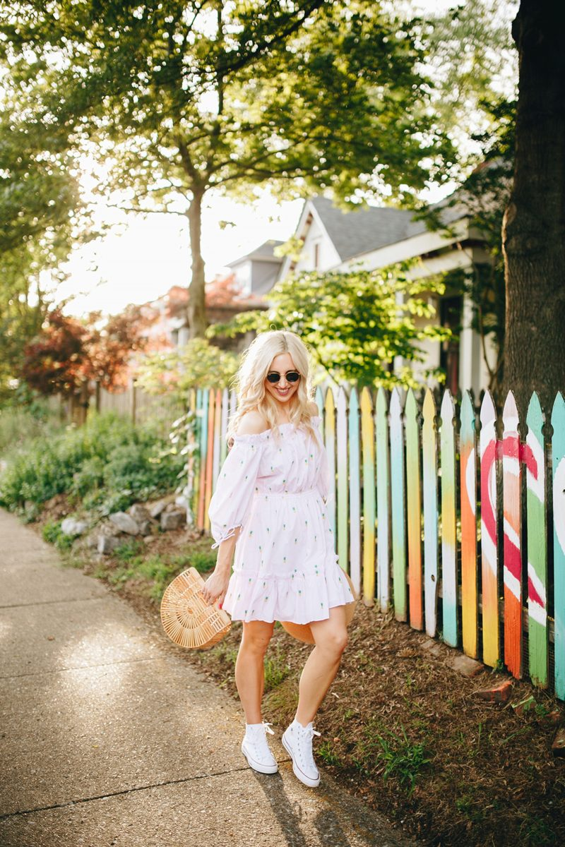 blush and camo, pineapple print, pineapple printed dress, kate spade dress, converse, converse shoes, summer style, summer blogger style