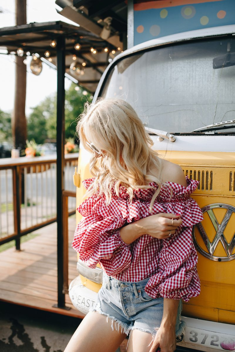 over the shoulder tops, OTS top, gingham print, gingham print top
