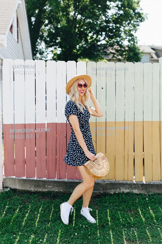blush and camo, daisy dress, daisy printed dress, francesca's, summer style